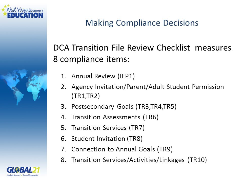 Making Compliance Decisions DCA Transition File Review Checklist measures 8 compliance items: 1.Annual Review (IEP1) 2.Agency Invitation/Parent/Adult Student Permission (TR1,TR2) 3.Postsecondary Goals (TR3,TR4,TR5) 4.Transition Assessments (TR6) 5.Transition Services (TR7) 6.Student Invitation (TR8) 7.Connection to Annual Goals (TR9) 8.Transition Services/Activities/Linkages (TR10)
