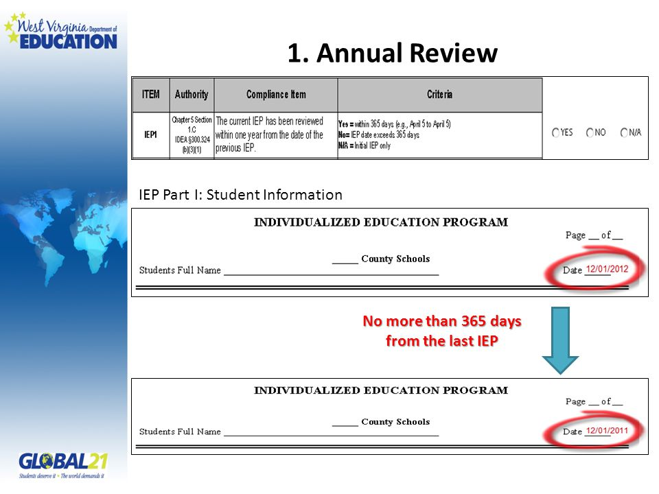 1. Annual Review No more than 365 days from the last IEP IEP Part I: Student Information