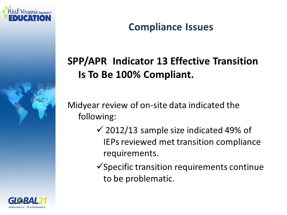 Compliance Issues SPP/APR Indicator 13 Effective Transition Is To Be 100% Compliant.