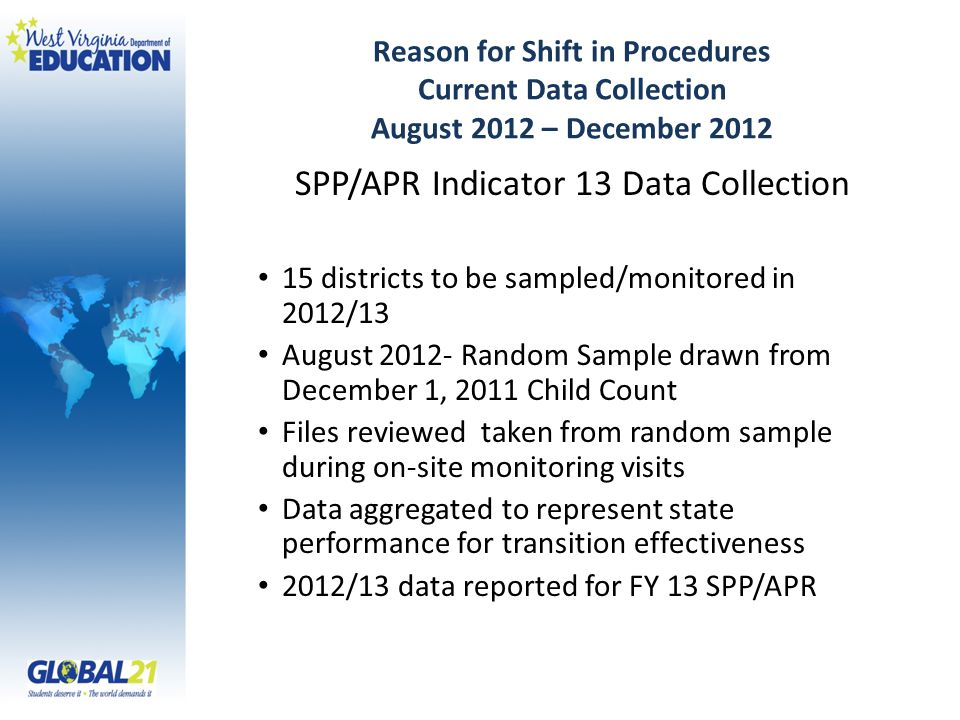 Reason for Shift in Procedures Current Data Collection August 2012 – December 2012 SPP/APR Indicator 13 Data Collection 15 districts to be sampled/monitored in 2012/13 August 2012- Random Sample drawn from December 1, 2011 Child Count Files reviewed taken from random sample during on-site monitoring visits Data aggregated to represent state performance for transition effectiveness 2012/13 data reported for FY 13 SPP/APR
