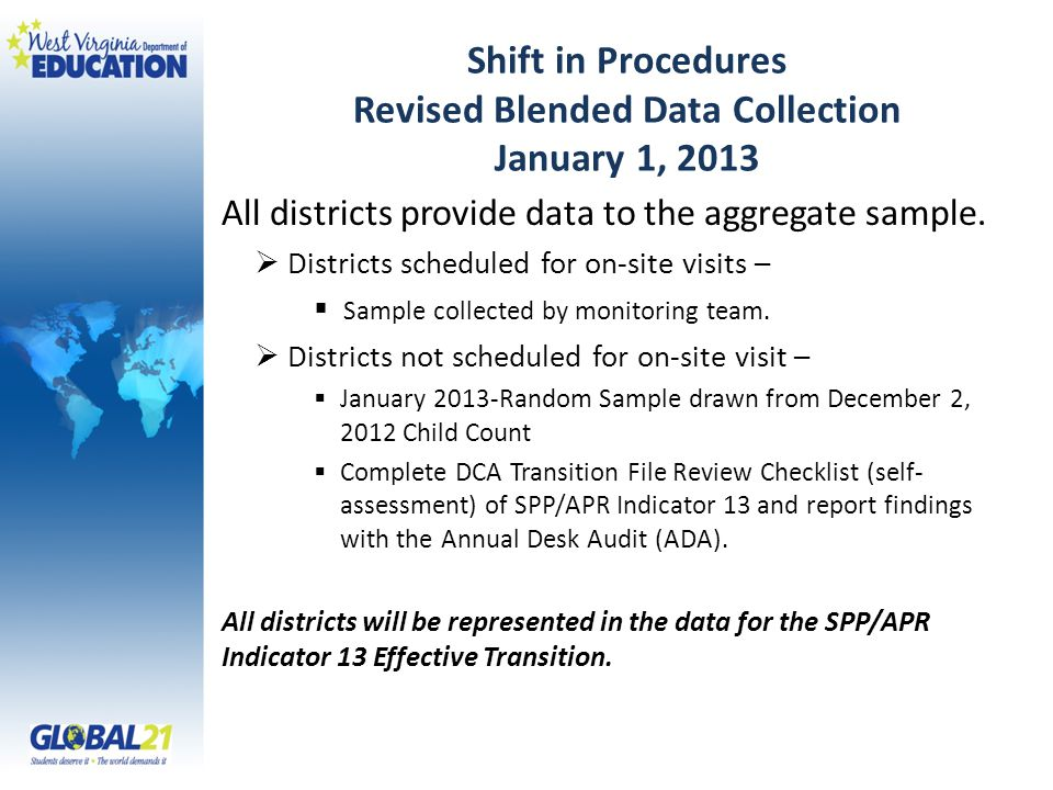 Shift in Procedures Revised Blended Data Collection January 1, 2013 All districts provide data to the aggregate sample.