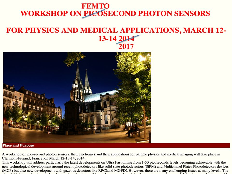 13 March 2014Workshop on Picosecond Photon Sensors, Clermont-Ferrand26/24 FEMTO 2017