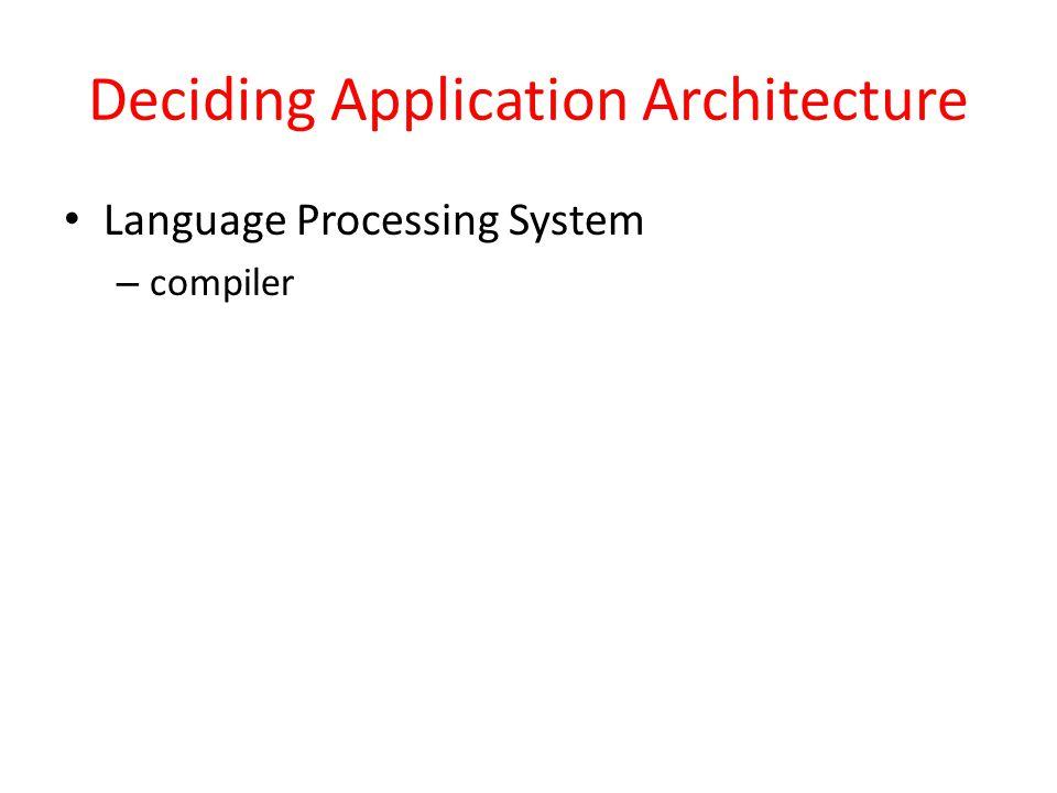 Deciding Application Architecture Language Processing System – compiler