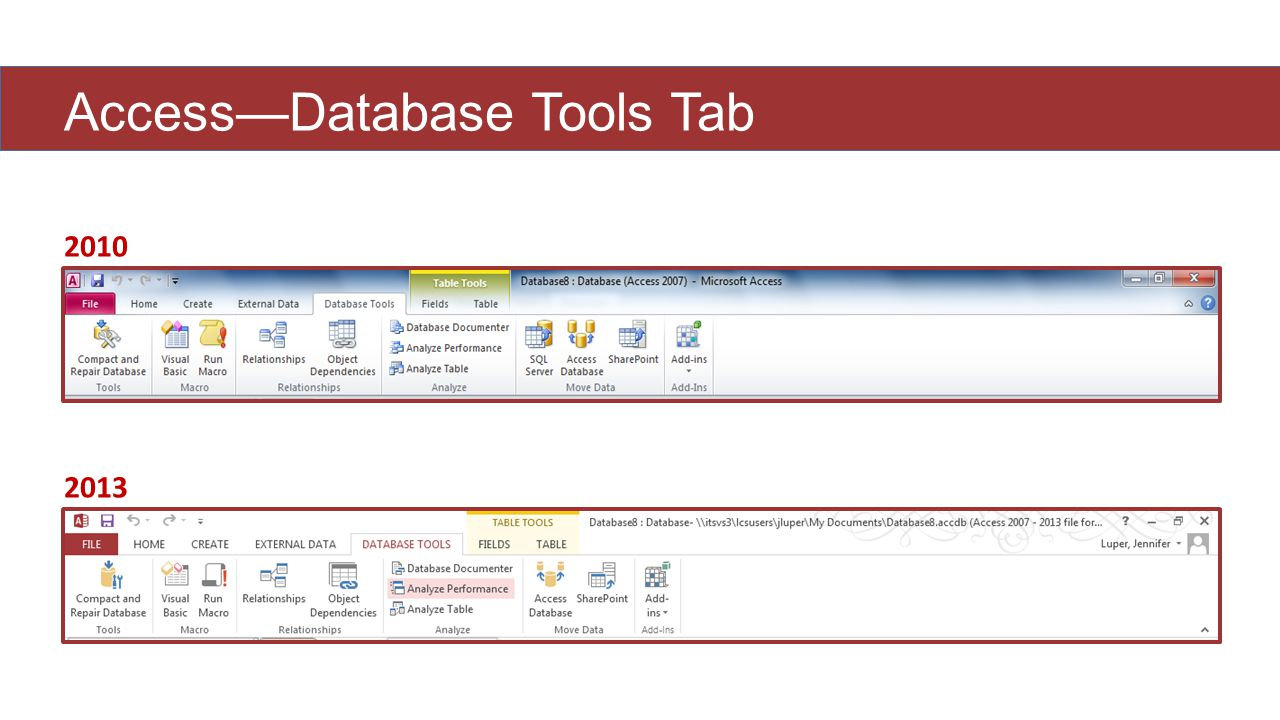 Access—Database Tools Tab 2010 2013
