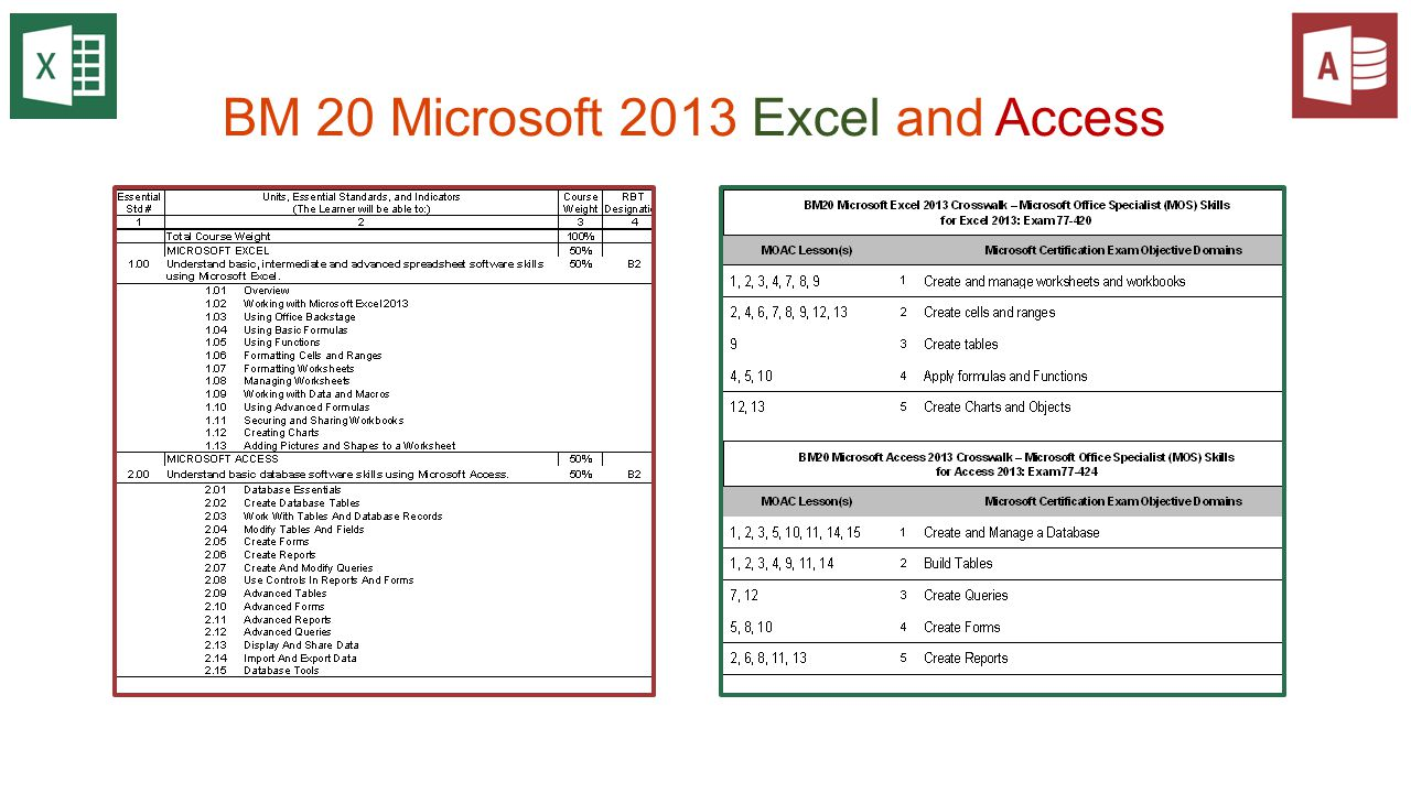 BM 20 Microsoft 2013 Excel and Access