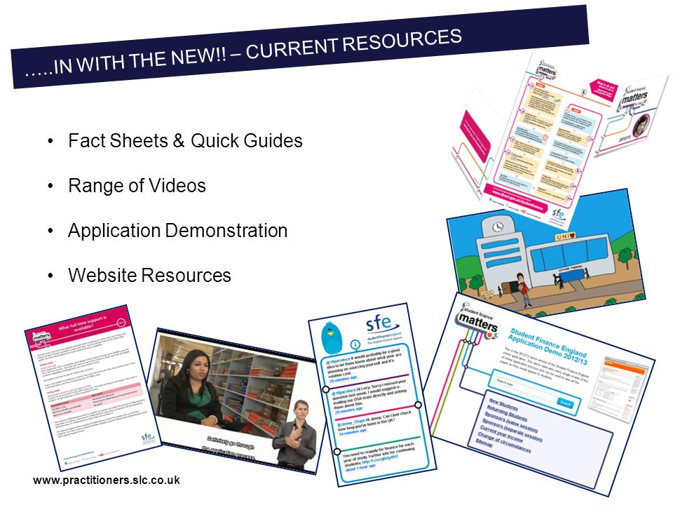 www.practitioners.slc.co.uk Fact Sheets & Quick Guides Range of Videos Application Demonstration Website Resources …..IN WITH THE NEW!.