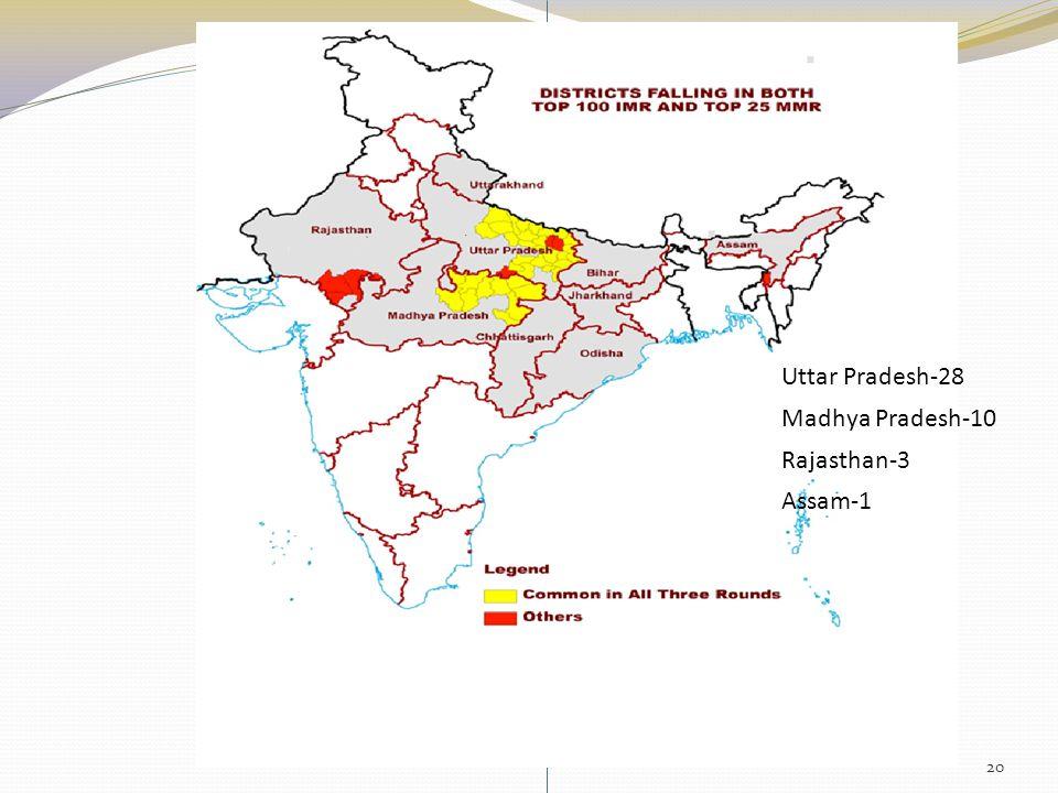 Rajasthan-3 Uttar Pradesh-28 Madhya Pradesh-10 Assam-1 20
