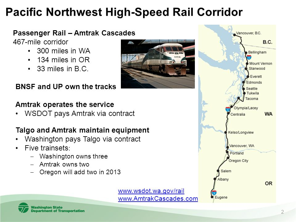 Pacific Northwest High-Speed Rail Corridor Passenger Rail – Amtrak Cascades 467-mile corridor 300 miles in WA 134 miles in OR 33 miles in B.C.