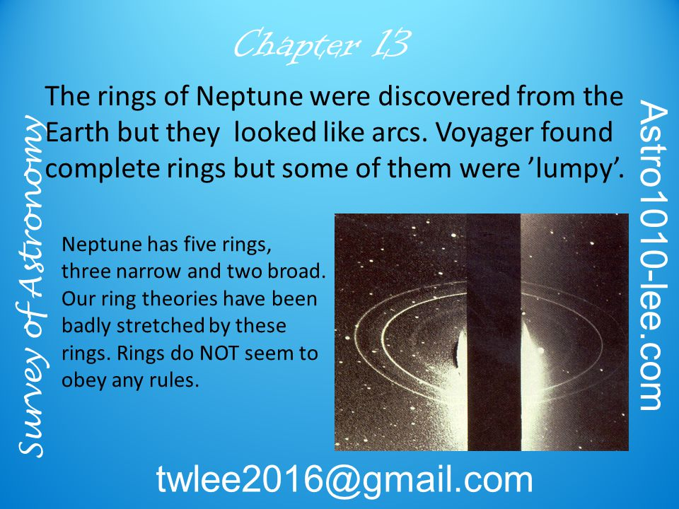 Survey of Astronomy Astro1010-lee.com twlee2016@gmail.com Chapter 13 The rings of Neptune were discovered from the Earth but they looked like arcs. Vo