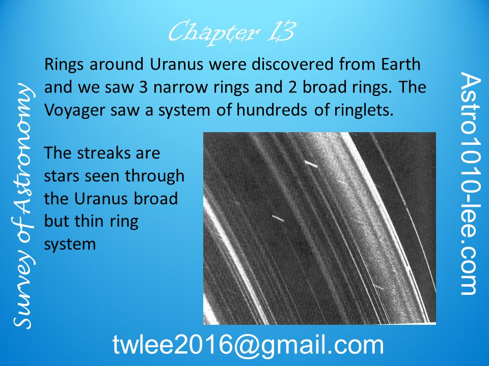 Survey of Astronomy Astro1010-lee.com twlee2016@gmail.com Chapter 13 Rings around Uranus were discovered from Earth and we saw 3 narrow rings and 2 br