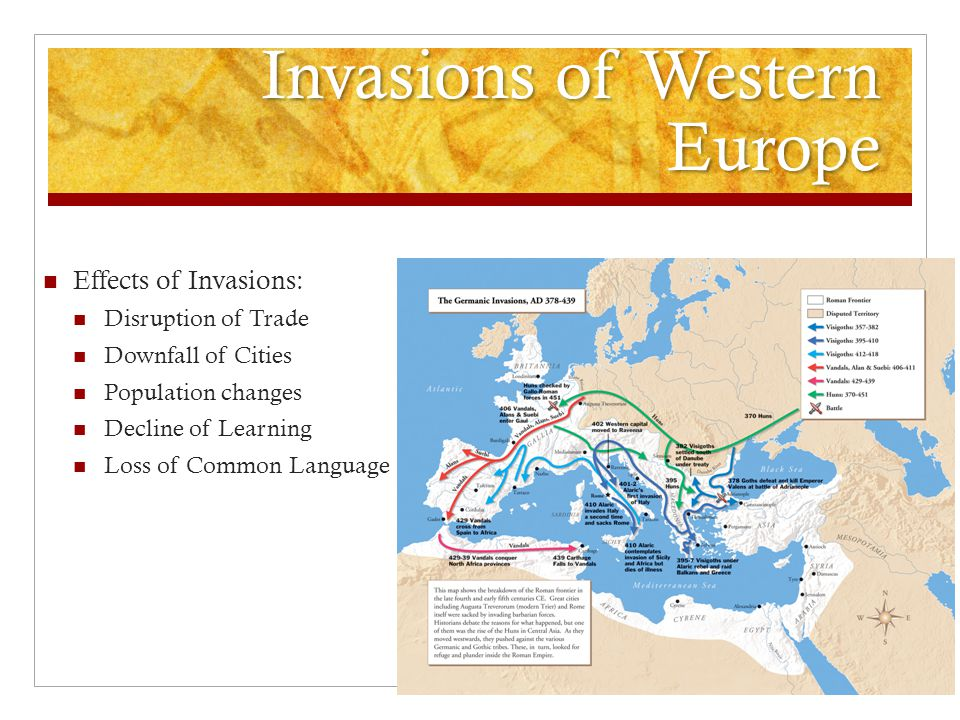 Invasions of Western Europe Effects of Invasions: Disruption of Trade Downfall of Cities Population changes Decline of Learning Loss of Common Language