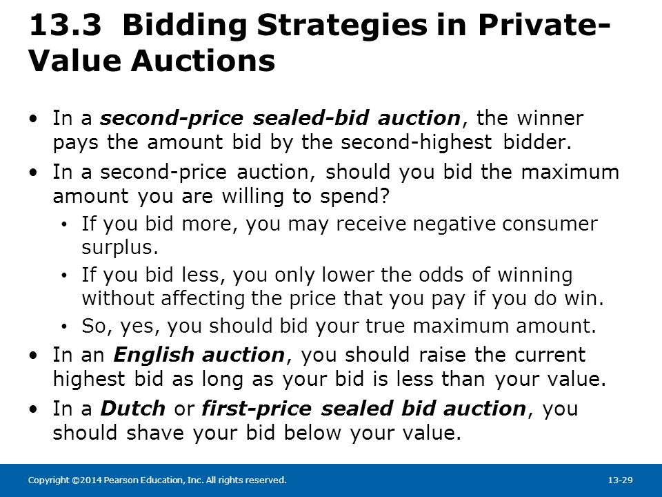 Copyright ©2014 Pearson Education, Inc. All rights reserved.13-29 13.3 Bidding Strategies in Private- Value Auctions In a second-price sealed-bid auct