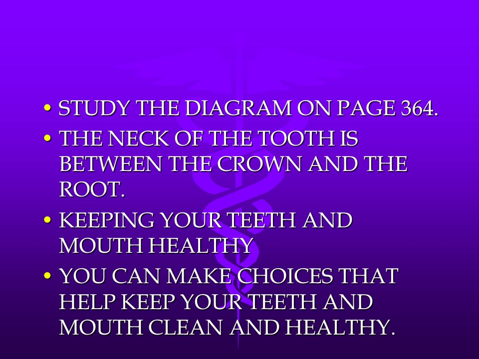 STUDY THE DIAGRAM ON PAGE 364.STUDY THE DIAGRAM ON PAGE 364. THE NECK OF THE TOOTH IS BETWEEN THE CROWN AND THE ROOT.THE NECK OF THE TOOTH IS BETWEEN
