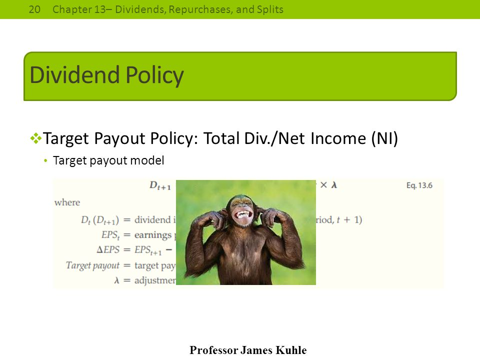 20Chapter 13– Dividends, Repurchases, and Splits Professor James Kuhle Dividend Policy  Target Payout Policy: Total Div./Net Income (NI) Target payou