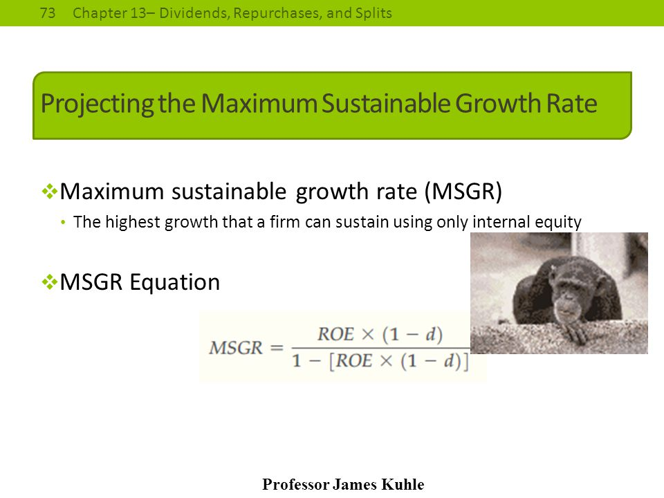73Chapter 13– Dividends, Repurchases, and Splits Professor James Kuhle Projecting the Maximum Sustainable Growth Rate  Maximum sustainable growth rat