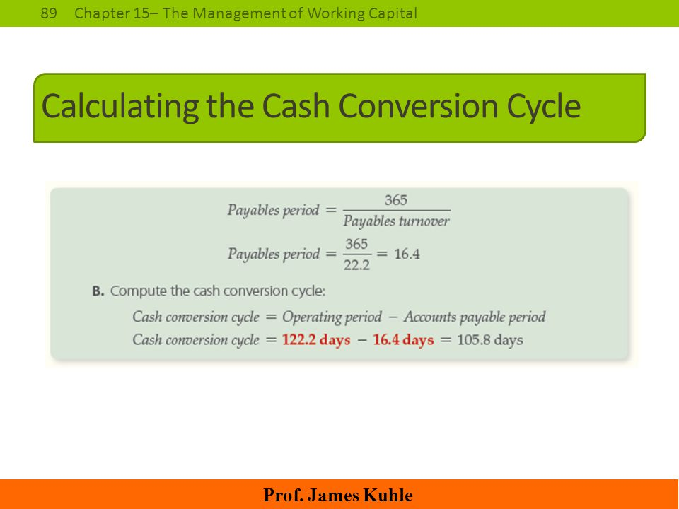 89Chapter 15– The Management of Working Capital Prof. James Kuhle Calculating the Cash Conversion Cycle