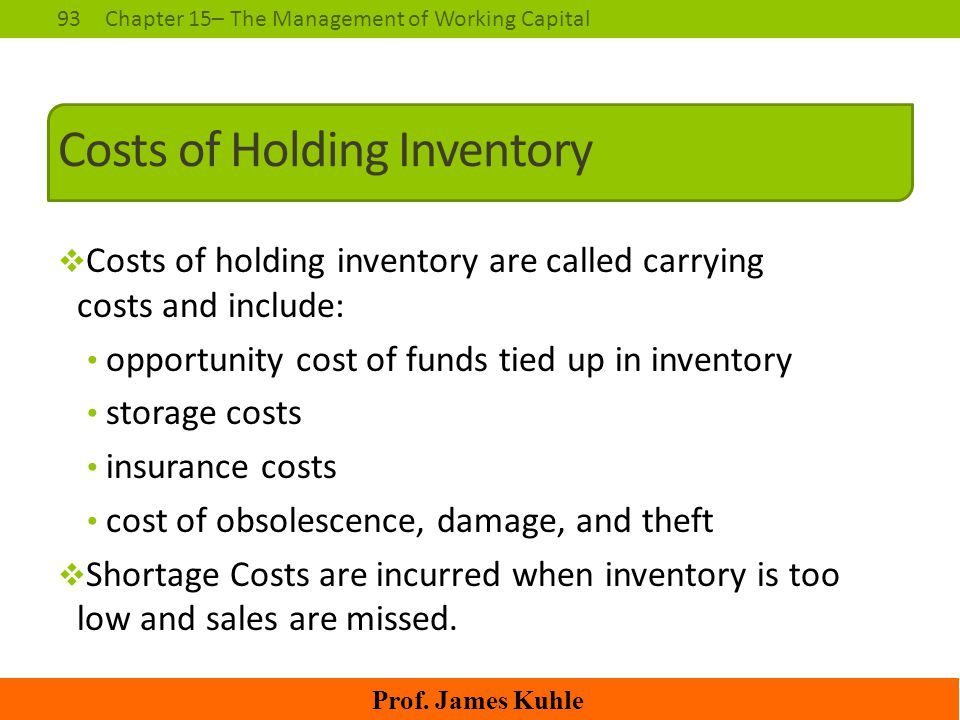 93Chapter 15– The Management of Working Capital Prof. James Kuhle Costs of Holding Inventory  Costs of holding inventory are called carrying costs an