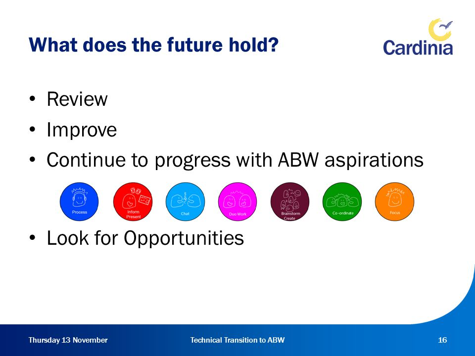 Thursday 13 NovemberTechnical Transition to ABW16 What does the future hold.