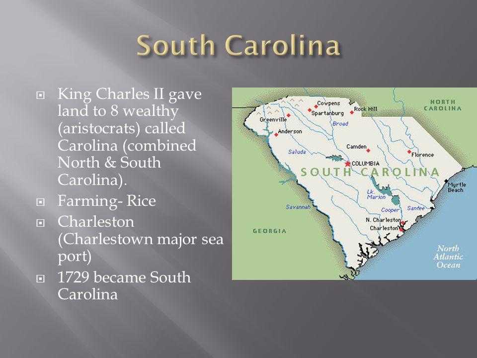  King Charles II gave land to 8 wealthy (aristocrats) called Carolina (combined North & South Carolina).  Farming- Rice  Charleston (Charlestown ma