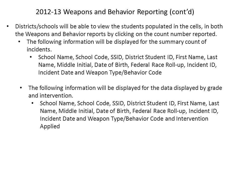 2012-13 Weapons and Behavior Reporting (cont'd) Districts/schools will be able to view the students populated in the cells, in both the Weapons and Be