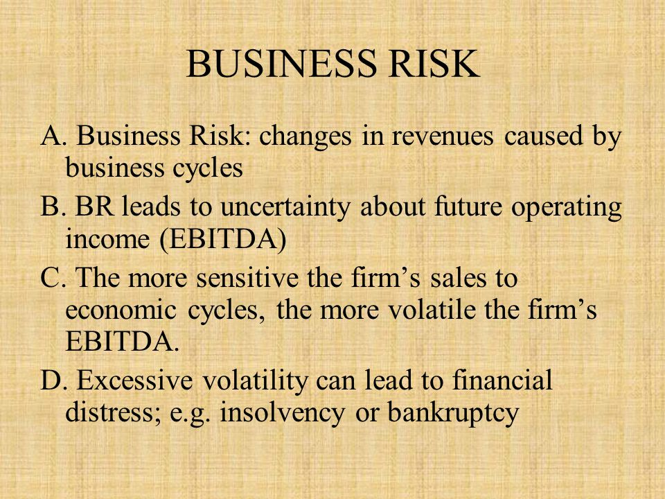 BUSINESS RISK A.Business Risk: changes in revenues caused by business cycles B.