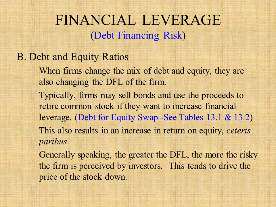 FINANCIAL LEVERAGE (Debt Financing Risk) B.