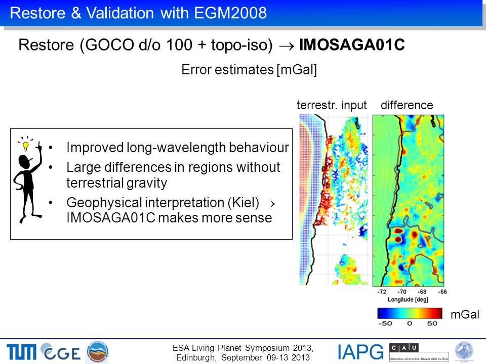 Restore & Validation with EGM2008 ESA Living Planet Symposium 2013, Edinburgh, September 09-13 2013 Restore (GOCO d/o 100 + topo-iso)  IMOSAGA01C mGal difference Improved long-wavelength behaviour Large differences in regions without terrestrial gravity Geophysical interpretation (Kiel)  IMOSAGA01C makes more sense terrestr.