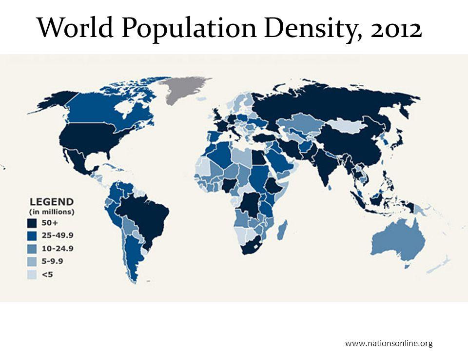 World Population Density, 2012 www.nationsonline.org