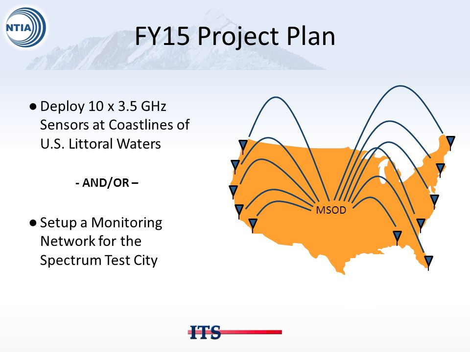 FY15 Project Plan ●Deploy 10 x 3.5 GHz Sensors at Coastlines of U.S.