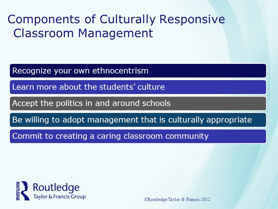 Components of Culturally Responsive Classroom Management Recognize your own ethnocentrismLearn more about the students' cultureAccept the politics in and around schoolsBe willing to adopt management that is culturally appropriateCommit to creating a caring classroom community ©Routledge/Taylor & Francis 2012