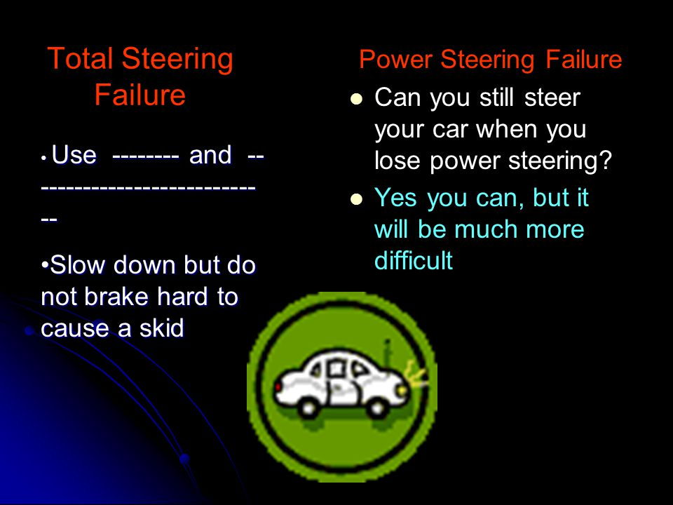 Skidding/Hydroplaning How do you regain control when you begin to skid? How do you regain control when you begin to skid? Steer ----------------the pa