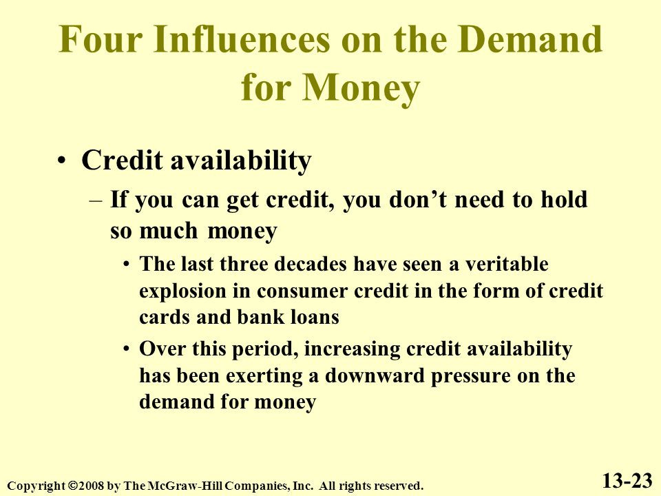 Four Influences on the Demand for Money Credit availability –If you can get credit, you don't need to hold so much money The last three decades have seen a veritable explosion in consumer credit in the form of credit cards and bank loans Over this period, increasing credit availability has been exerting a downward pressure on the demand for money 13-23 Copyright  2008 by The McGraw-Hill Companies, Inc.