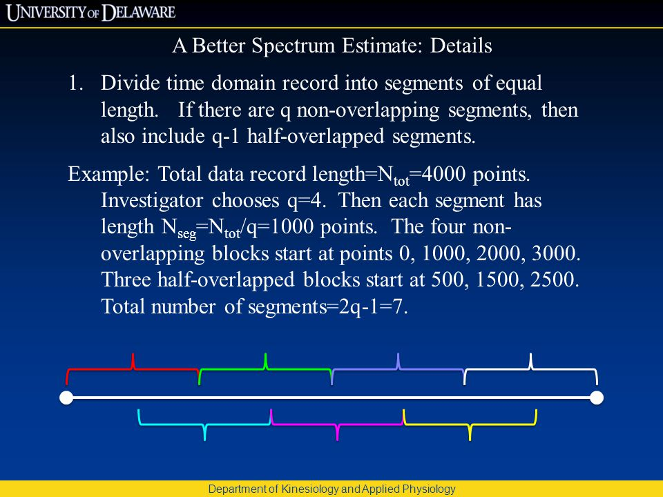 Department of Kinesiology and Applied Physiology A Better Spectrum Estimate: Details 1.Divide time domain record into segments of equal length.
