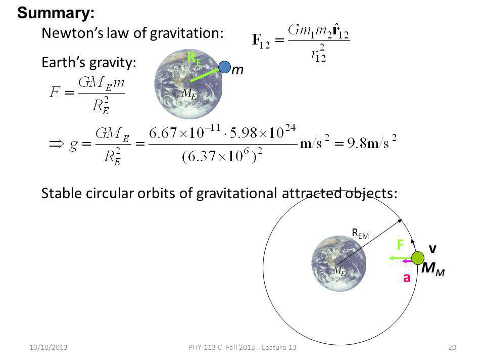 10/10/2013PHY 113 C Fall 2013-- Lecture 1320 Newton's law of gravitation: Earth's gravity: Stable circular orbits of gravitational attracted objects: