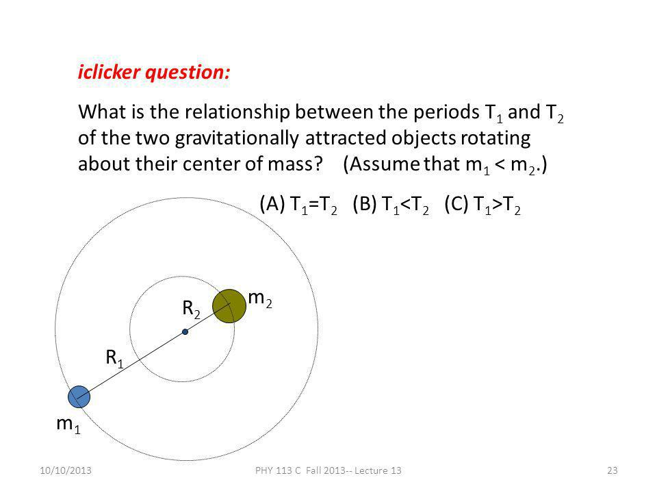 10/10/2013PHY 113 C Fall 2013-- Lecture 1323 iclicker question: What is the relationship between the periods T 1 and T 2 of the two gravitationally at