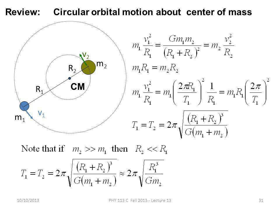 10/10/2013PHY 113 C Fall 2013-- Lecture 1331 m1m1 R2R2 R1R1 m2m2 v1v1 v2v2 Review: Circular orbital motion about center of mass CM