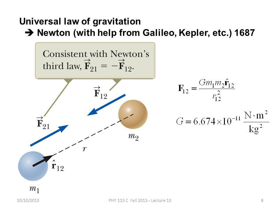 10/10/2013PHY 113 C Fall 2013-- Lecture 138 Universal law of gravitation  Newton (with help from Galileo, Kepler, etc.) 1687