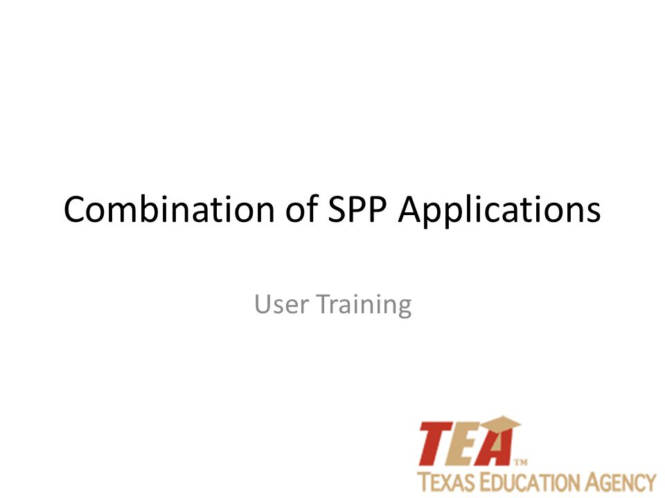 Combination of SPP Applications User Training
