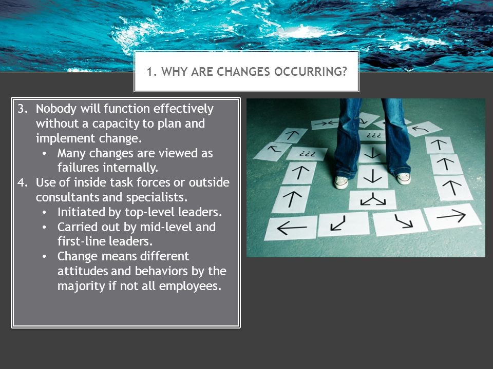 2.WHAT CREATES ORGANIZATIONAL CHANGE. Change can be initiated from the inside or the outside.