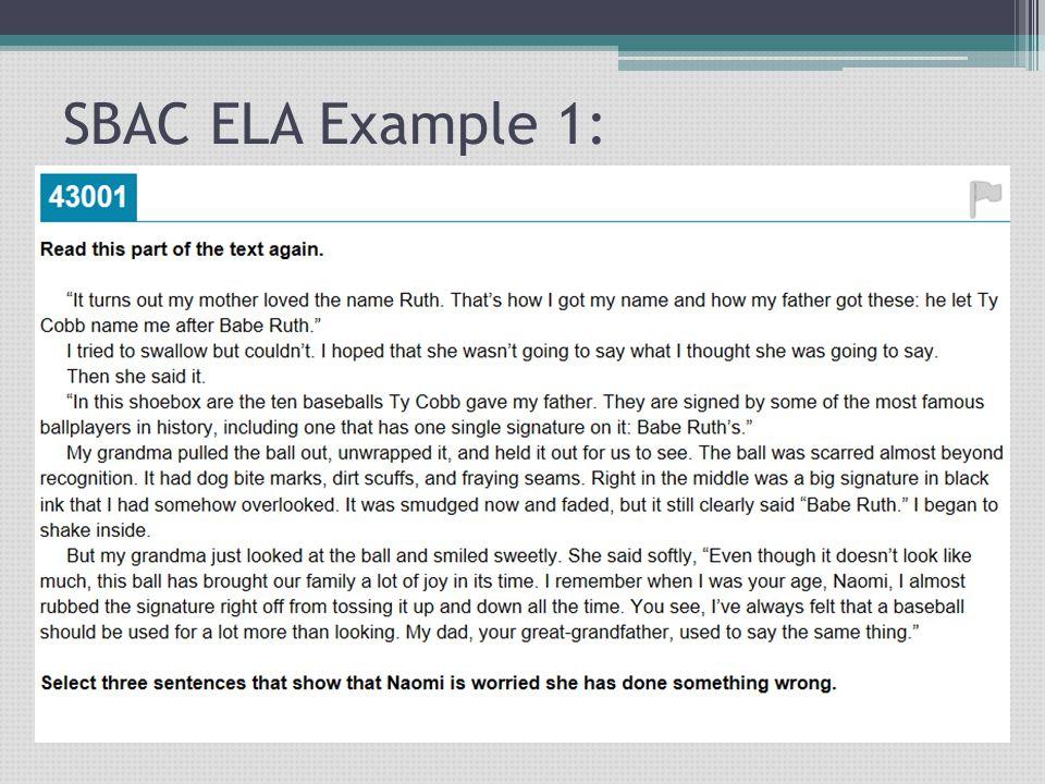 SBAC ELA Example 1: