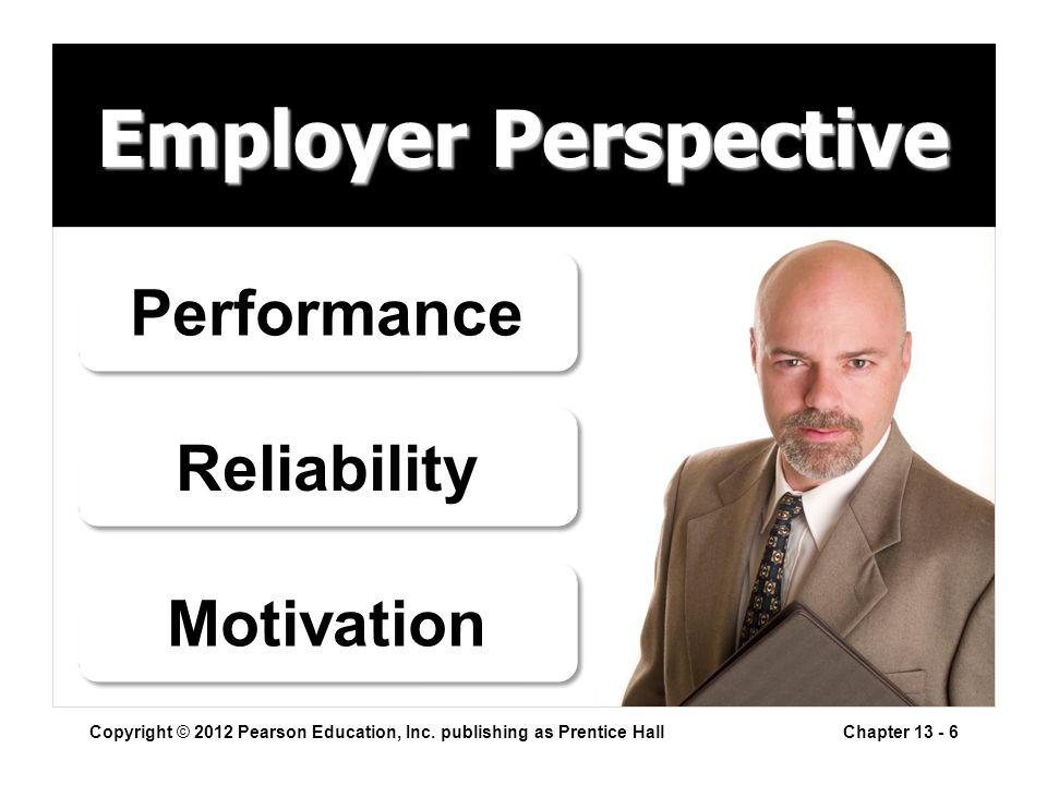 Employer Perspective Copyright © 2012 Pearson Education, Inc.