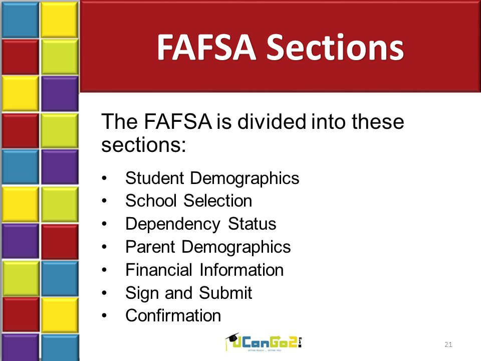 FAFSA Sections The FAFSA is divided into these sections: Student Demographics School Selection Dependency Status Parent Demographics Financial Informa