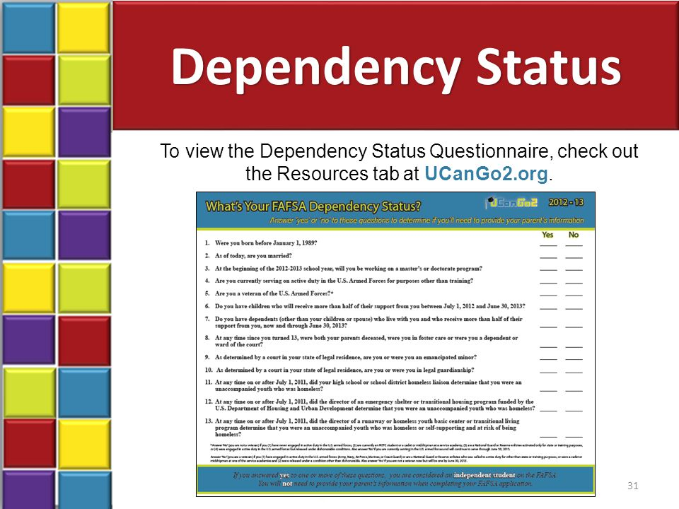 Dependency Status To view the Dependency Status Questionnaire, check out the Resources tab at UCanGo2.org.