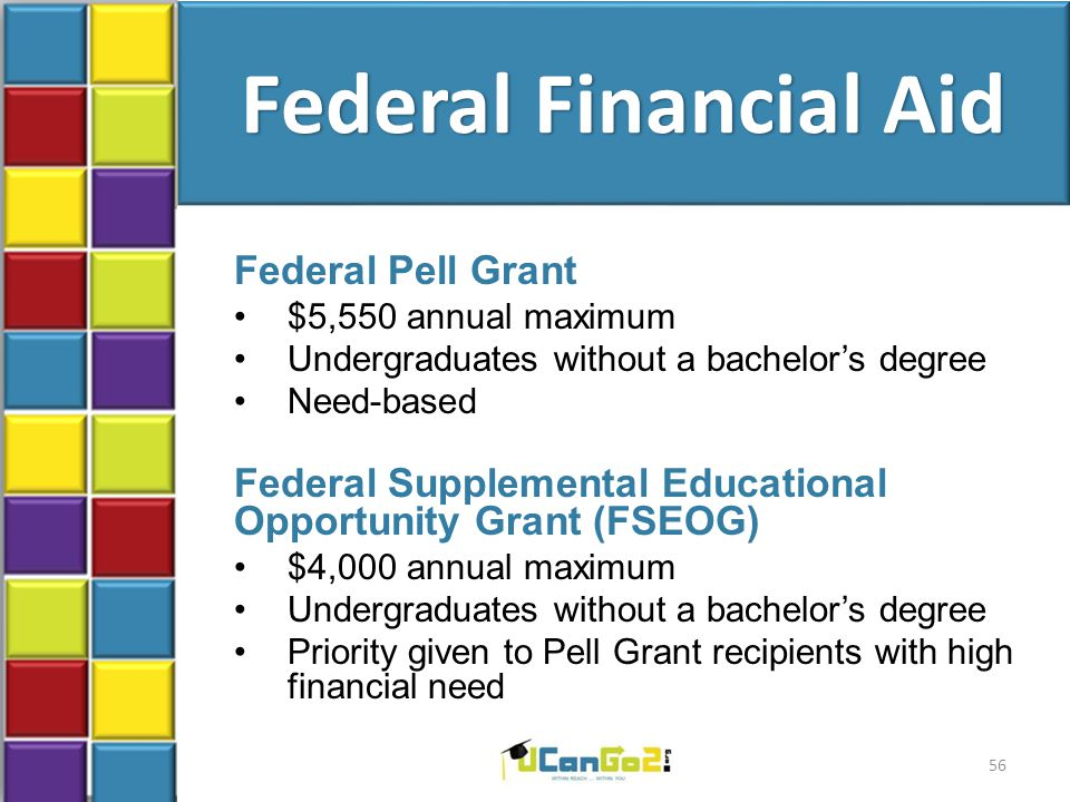 Federal Financial Aid Federal Pell Grant $5,550 annual maximum Undergraduates without a bachelor's degree Need-based Federal Supplemental Educational Opportunity Grant (FSEOG) $4,000 annual maximum Undergraduates without a bachelor's degree Priority given to Pell Grant recipients with high financial need 56