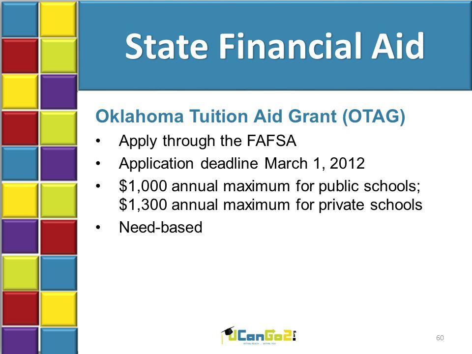State Financial Aid Oklahoma Tuition Aid Grant (OTAG) Apply through the FAFSA Application deadline March 1, 2012 $1,000 annual maximum for public scho
