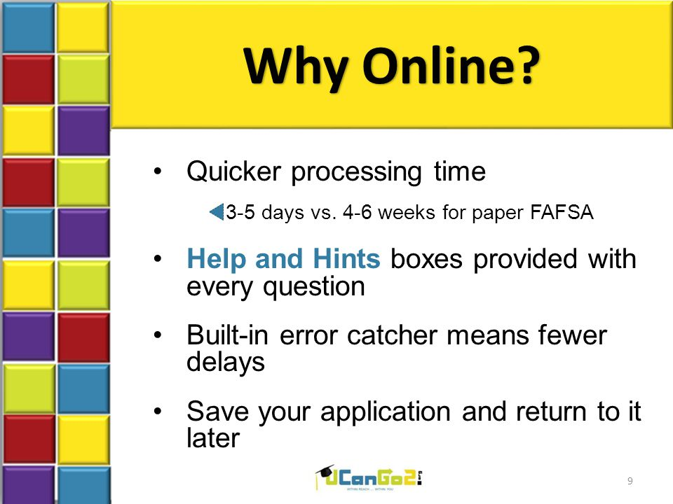 Why Online? Quicker processing time 3-5 days vs. 4-6 weeks for paper FAFSA Help and Hints boxes provided with every question Built-in error catcher me