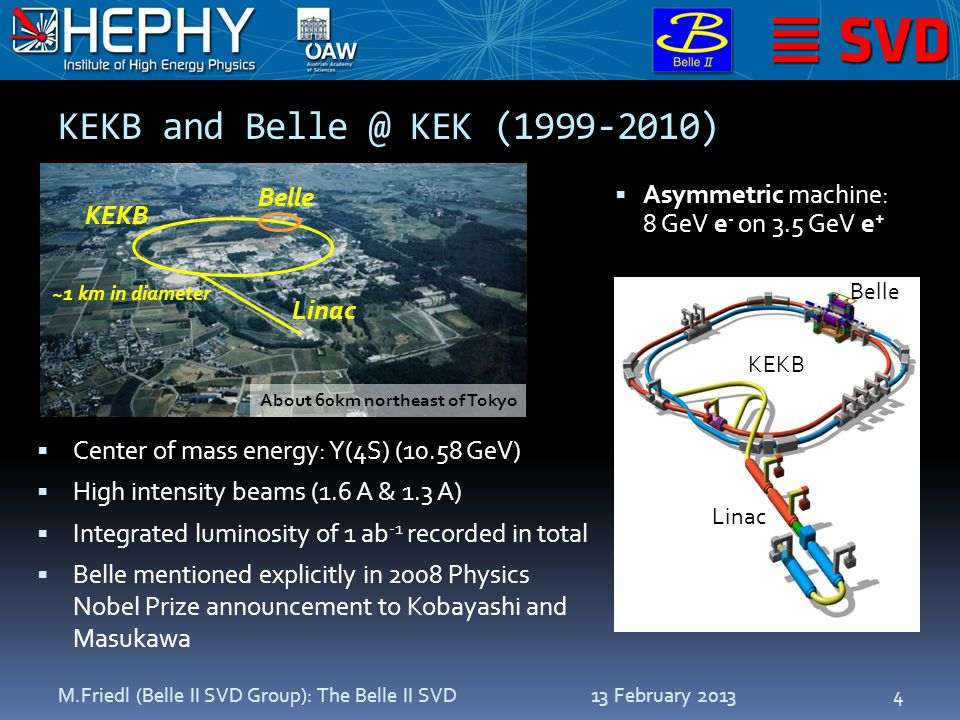 SuperKEKB/Belle II Upgrade: 2010–2015  Aim: super-high luminosity ~8  10 35 cm -2 s -1  1  10 10 BB / year  LoI published in 2004; TDR published in 2010  Refurbishment of accelerator and detector required  nano-beams with cross-sections of ~10 µm x 60 nm  10 mm radius beam pipe at interaction region 13 February 2013M.Friedl (Belle II SVD Group): The Belle II SVD5 http://belle2.kek.jp
