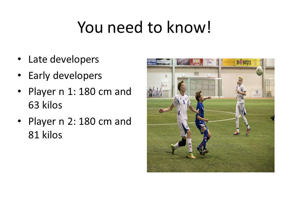 You need to know! Late developers Early developers Player n 1: 180 cm and 63 kilos Player n 2: 180 cm and 81 kilos