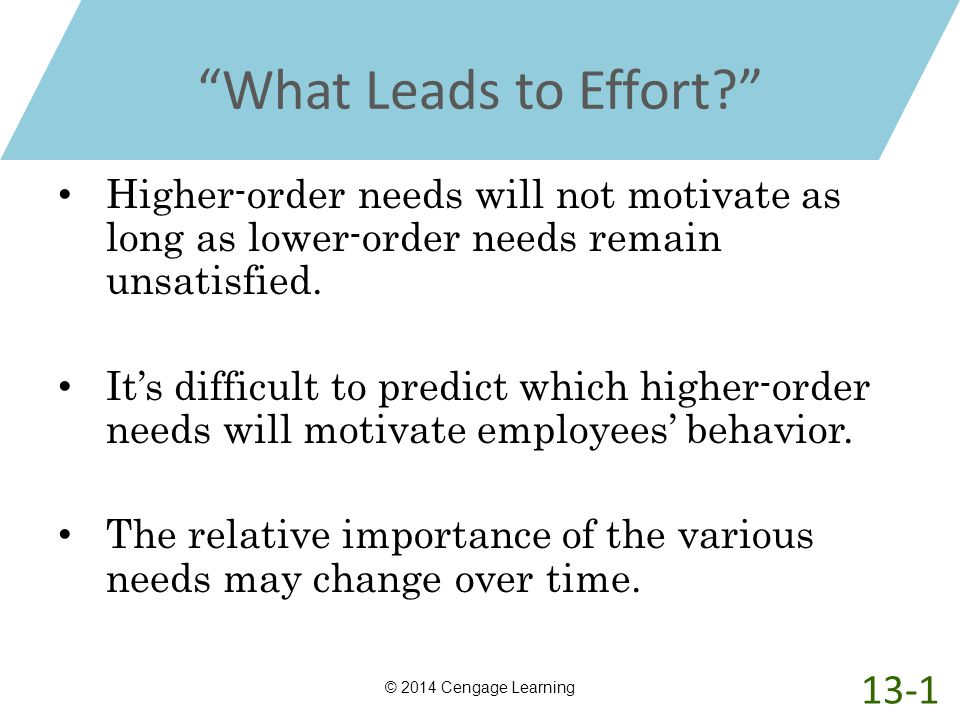 """""""What Leads to Effort?"""" Higher-order needs will not motivate as long as lower-order needs remain unsatisfied. It's difficult to predict which higher-o"""