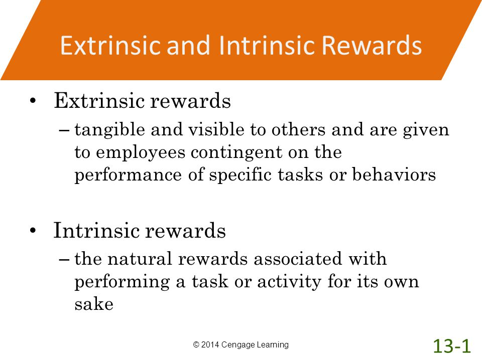 Extrinsic and Intrinsic Rewards Extrinsic rewards – tangible and visible to others and are given to employees contingent on the performance of specifi
